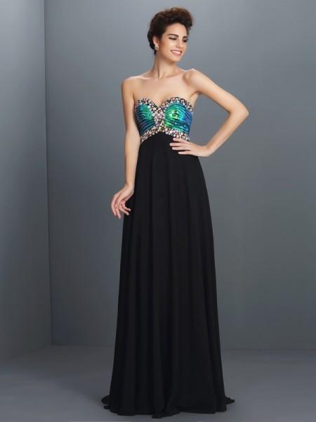 A-Line/Princess Sweetheart Paillette Sleeveless Long Chiffon Dresses