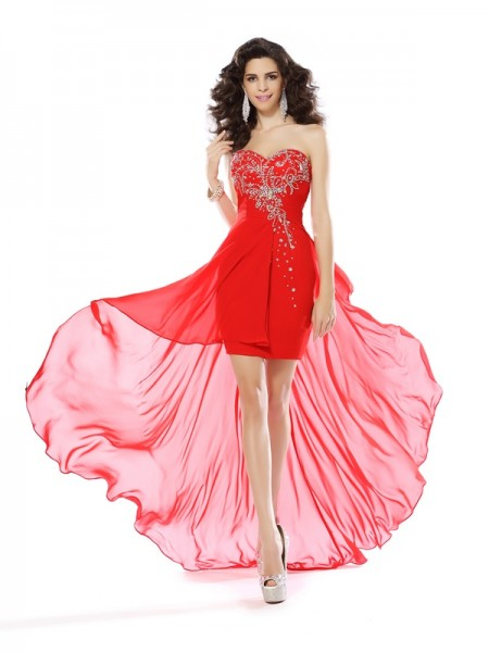 Sheath/Column Sweetheart Beading Sleeveless Short Chiffon Cocktail Dresses