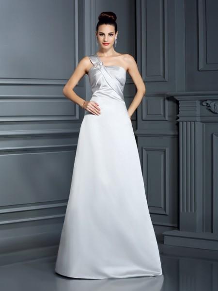 A-Line/Princess One-Shoulder Sleeveless Long Satin Dresses
