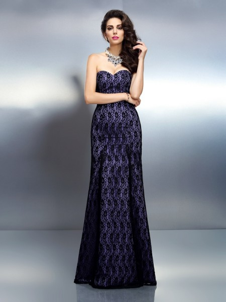 Trumpet/Mermaid Sweetheart Lace Sleeveless Long Satin Dresses