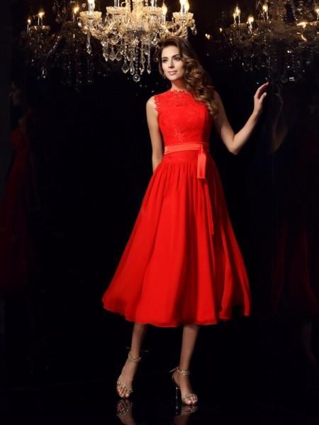 A-Line/Princess High Neck Sash/Ribbon/Belt Sleeveless Short Chiffon Dresses