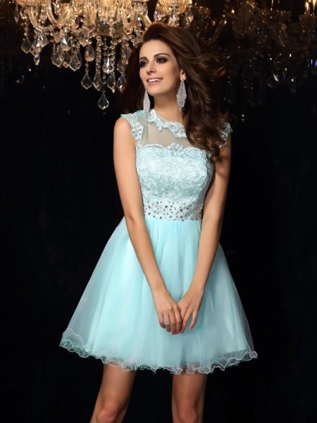 A-Line/Princess High Neck Sleeveless Short Elastic Woven Satin Dresses