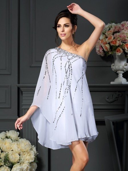 A-Line/Princess One-Shoulder Sequin Sleeveless Short Chiffon Mother of the Bride Dresses