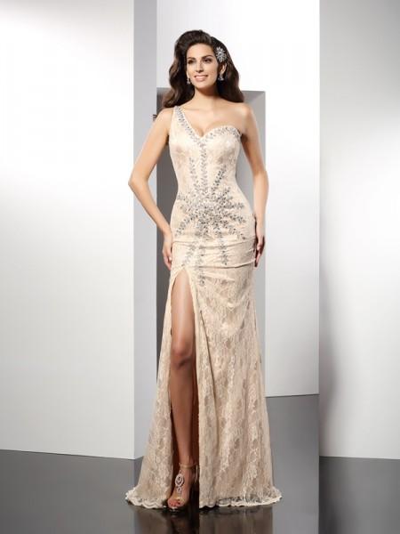 Sheath/Column One-Shoulder Sleeveless Long Elastic Woven Satin Dresses