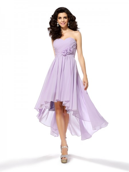 4b1cf699804 A-Line Princess Sweetheart Hand-Made Flower Sleeveless High Low Chiffon Cocktail  Dresses