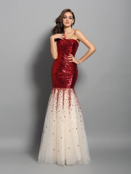 Trumpet/Mermaid One-Shoulder Sleeveless Long Sequins Dresses