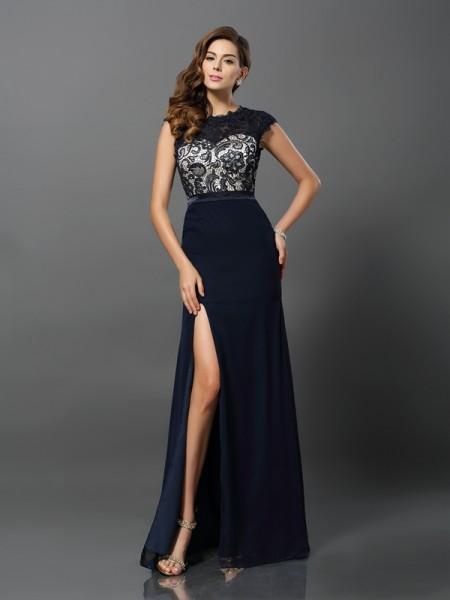 Sheath/Column Jewel Short Sleeves Long Chiffon Dresses