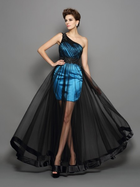 A-Line/Princess One-Shoulder Ruched Sleeveless Long Elastic Woven Satin Dresses