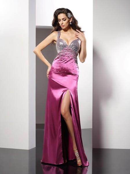 A-Line/Princess Straps Beading Sleeveless Long Elastic Woven Satin Dresses