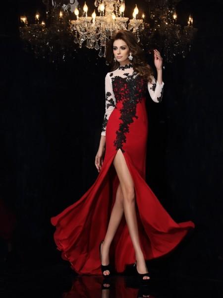 Sheath/Column High Neck Applique Sleeveless Long Chiffon Dresses