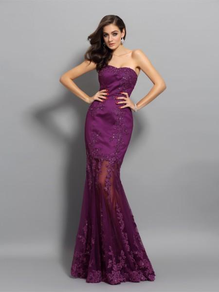 Trumpet/Mermaid Sweetheart Beading Sleeveless Long Chiffon Dresses