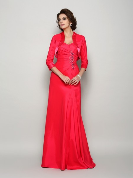 A-Line/Princess Straps Applique Sleeveless Long Elastic Woven Satin Mother of the Bride Dresses