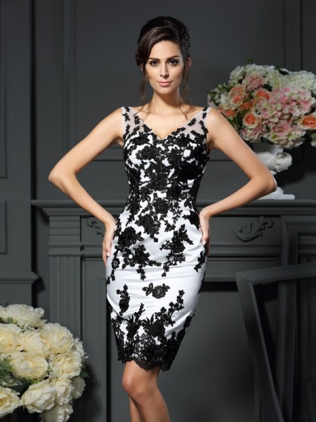 Sheath/Column V-neck Applique Sleeveless Short Satin Mother of the Bride Dresses