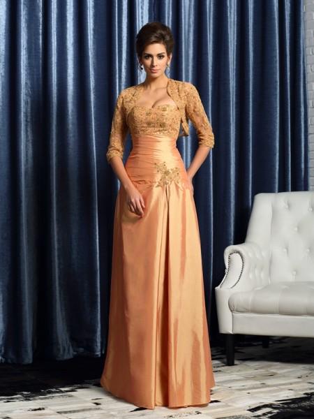 A-Line/Princess Sweetheart Applique Sleeveless Long Taffeta Mother of the Bride Dresses