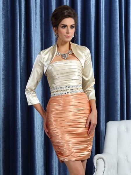 Sheath/Column Strapless Ruched Sleeveless Short Silk like Satin Mother of the Bride Dresses