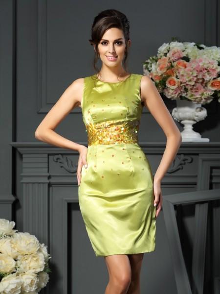Sheath/Column Scoop Beading Sleeveless Short Silk like Satin Mother of the Bride Dresses