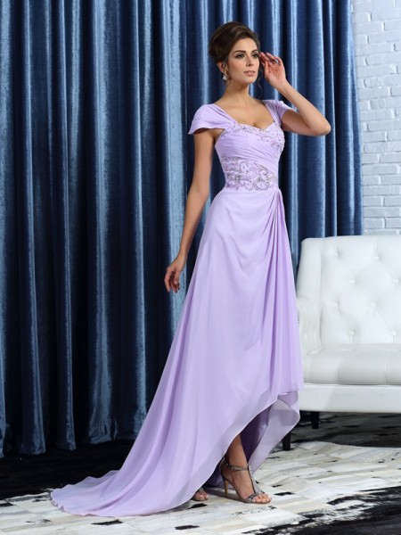 A-Line/Princess Straps Beading Sleeveless High Low Chiffon Mother of the Bride Dresses