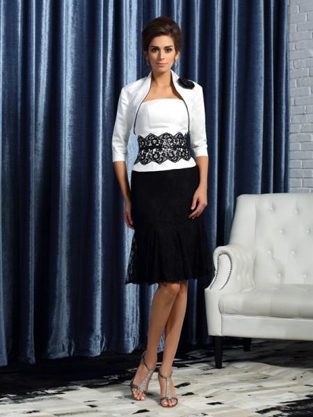 Sheath/Column Strapless Lace Sleeveless Short Taffeta Mother of the Bride Dresses