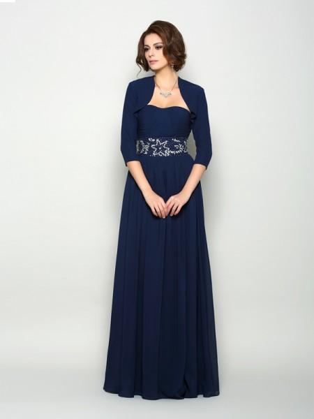 A-Line/Princess Sweetheart Beading Sleeveless Long Chiffon Mother of the Bride Dresses