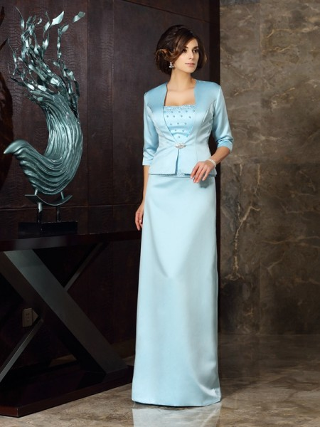 Sheath/Column Strapless Sleeveless Long Satin Mother of the Bride Dresses