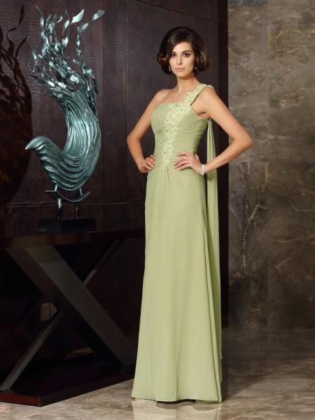 A-Line/Princess One-Shoulder Applique Sleeveless Long Chiffon Mother of the Bride Dresses