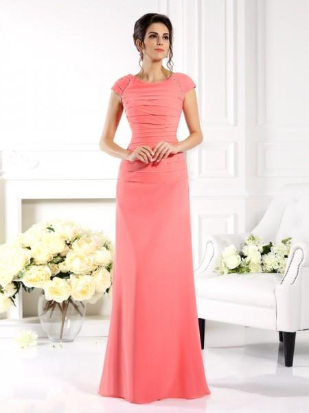 A-Line/Princess Bateau Short Sleeves Long Chiffon Mother of the Bride Dresses