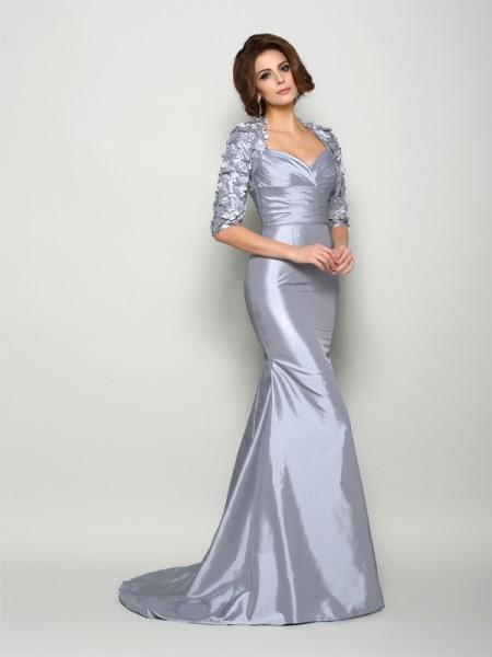 Trumpet/Mermaid Sweetheart Applique 1/2 Sleeves Long Taffeta Mother of the Bride Dresses