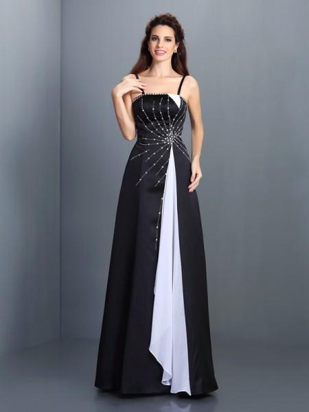 A-Line/Princess Spaghetti Straps Sleeveless Long Chiffon Dresses