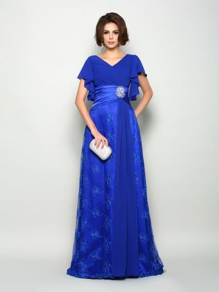 A-Line/Princess V-neck Applique Short Sleeves Long Chiffon Mother of the Bride Dresses