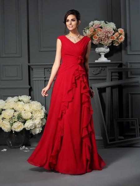 A-Line/Princess V-neck Hand-Made Flower Sleeveless Long Chiffon Mother of the Bride Dresses
