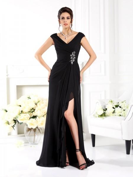 A-Line/Princess V-neck Ruffles Sleeveless Long Chiffon Mother of the Bride Dresses