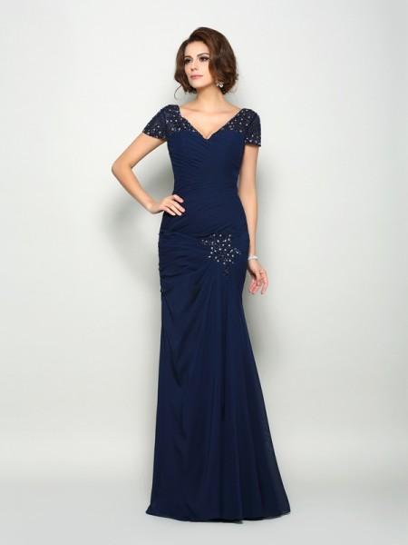 Trumpet/Mermaid V-neck Beading Short Sleeves Long Chiffon Mother of the Bride Dresses