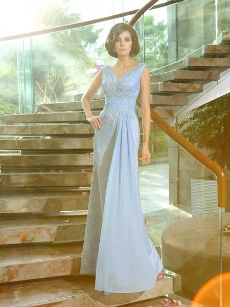 Sheath/Column V-neck Beading Sleeveless Long Lace Mother of the Bride Dresses