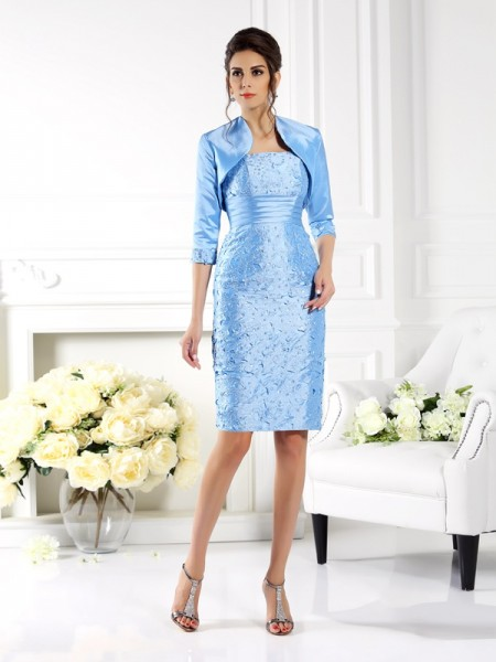 Sheath/Column Straps Sleeveless Short Taffeta Mother of the Bride Dresses