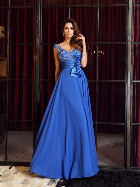 A-Line/Princess Straps Hand-Made Flower Sleeveless Long Chiffon Dresses