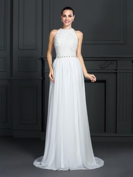 A-Line/Princess High Neck Ruffles Sleeveless Long Chiffon Dresses