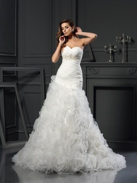 A-Line/Princess Sweetheart Beading Sleeveless Long Organza Wedding Dresses