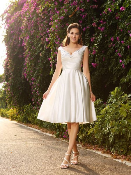 41362369bcd A-Line Princess V-neck Beading Sleeveless Short Satin Wedding Dresses