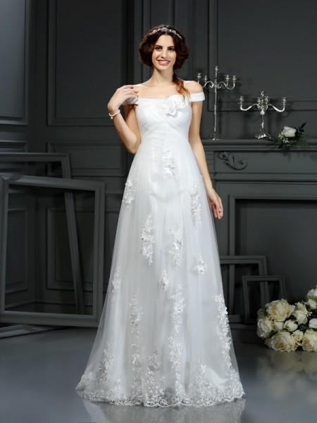 A-Line/Princess Off-the-Shoulder Applique Sleeveless Long Net Wedding Dresses