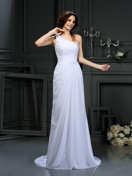 A-Line/Princess One-Shoulder Pleats Sleeveless Long Chiffon Wedding Dresses