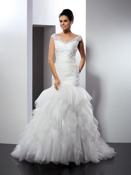 Trumpet/Mermaid V-neck Applique Sleeveless Long Tulle Wedding Dresses