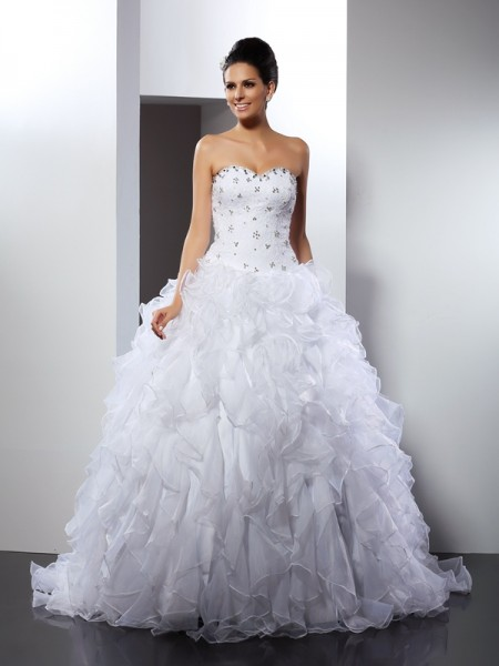 Ball Gown Sweetheart Ruffles Sleeveless Long Satin Wedding Dresses