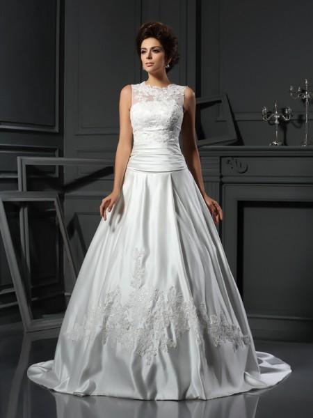 A-Line/Princess High Neck Applique Sleeveless Long Satin Wedding Dresses