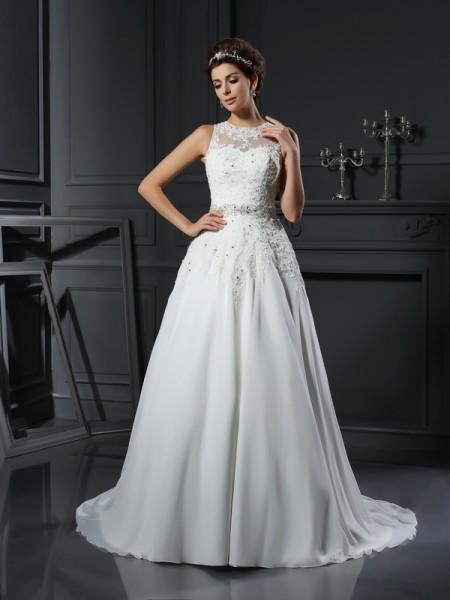 A-Line/Princess High Neck Beading Sleeveless Long Satin Wedding Dresses