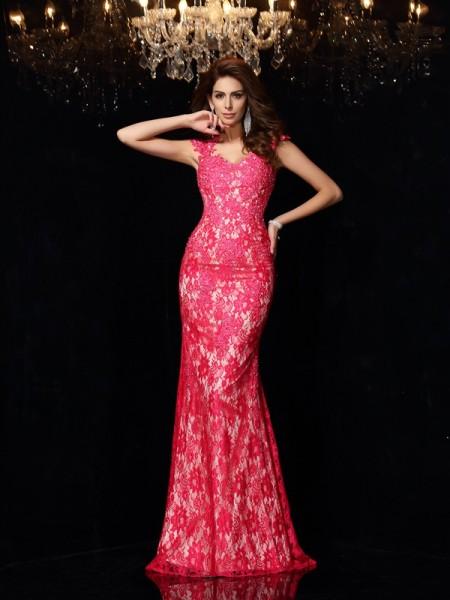 Sheath/Column V-neck Lace Sleeveless Long Elastic Woven Satin Dresses