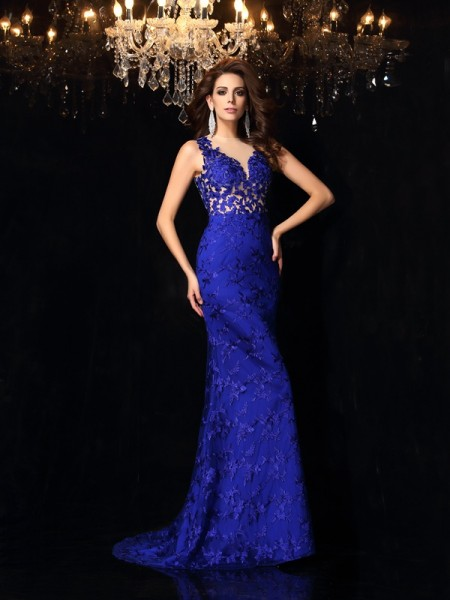 Trumpet/Mermaid High Neck Lace Sleeveless Long Satin Dresses