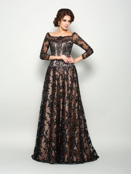 A-Line/Princess Off-the-Shoulder Lace 3/4 Sleeves Long Satin Mother of the Bride Dresses