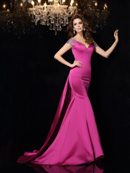 Trumpet/Mermaid Off-the-Shoulder Beading Sleeveless Long Satin Dresses