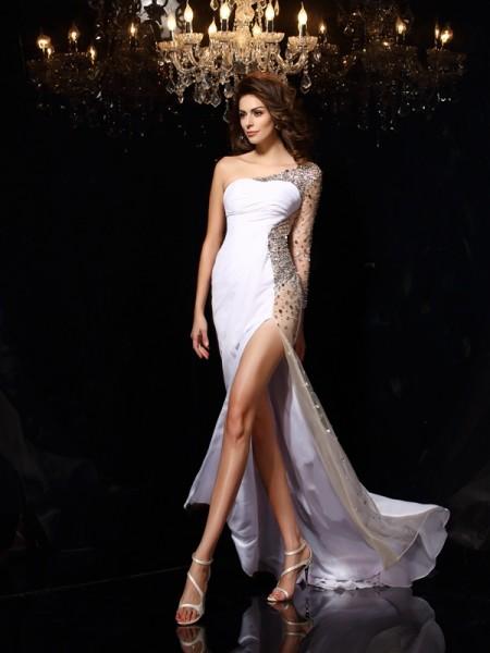 Sheath/Column One-Shoulder Beading Long Sleeves Long Chiffon Dresses