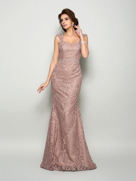 Trumpet/Mermaid Straps Lace Sleeveless Long Satin Mother of the Bride Dresses